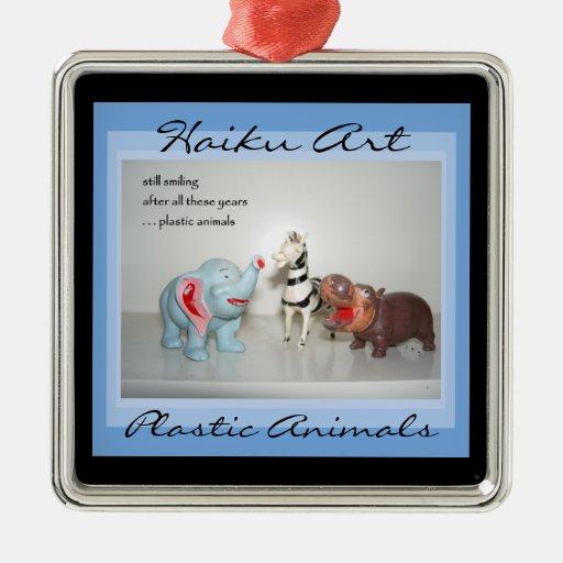 Plastic Animals Haiku Art Ornament