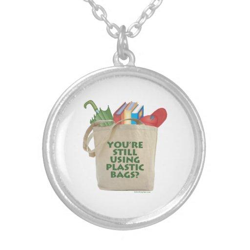 Plastic Bags Round Pendant Necklace