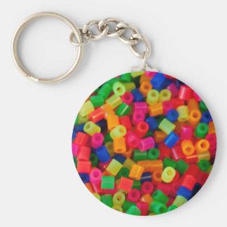 plastic beads basic round button keychain