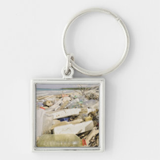 Plastic bottles and ocean dumping on a tropical keychains