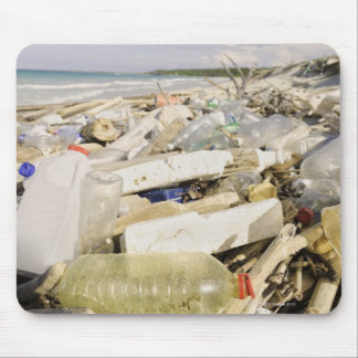 Plastic bottles and ocean dumping on a tropical mouse pad