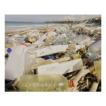 Plastic bottles and ocean dumping on a tropical print