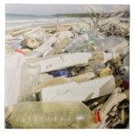 Plastic bottles and ocean dumping on a tropical ceramic tiles