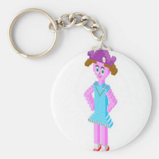 Plastic brick girl design keychain
