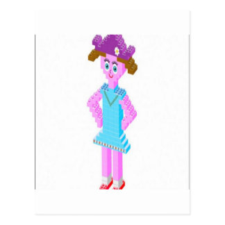 Plastic brick girl design postcard