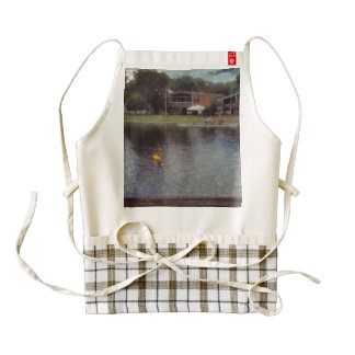 Plastic buoy in front of a lake zazzle HEART apron