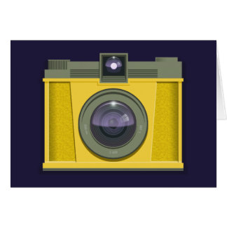 Plastic Camera Greeting Card (purple background)