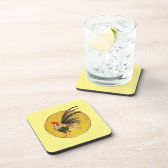 Plastic Coaster - Rooster and Yellow Sun