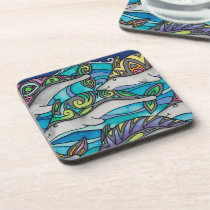 Plastic coasters / cork back (6): Dolphin Series
