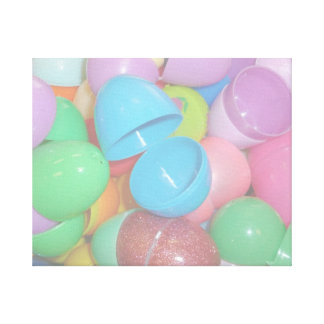 plastic colourful easter eggs pastel background canvas print