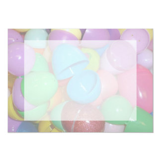 plastic colourful easter eggs pastel background card
