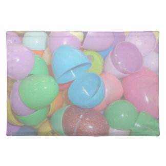 plastic colourful easter eggs pastel background cloth placemat