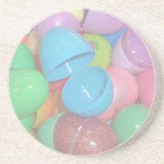plastic colourful easter eggs pastel background drink coaster