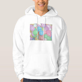 plastic colourful easter eggs pastel background hooded sweatshirt