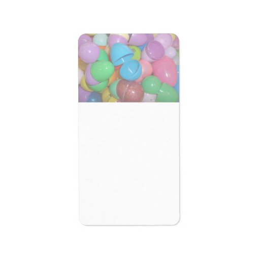 plastic colourful easter eggs pastel background personalized address label