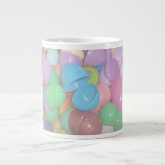 plastic colourful easter eggs pastel background large coffee mug