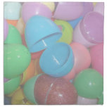 plastic colourful easter eggs pastel background cloth napkin