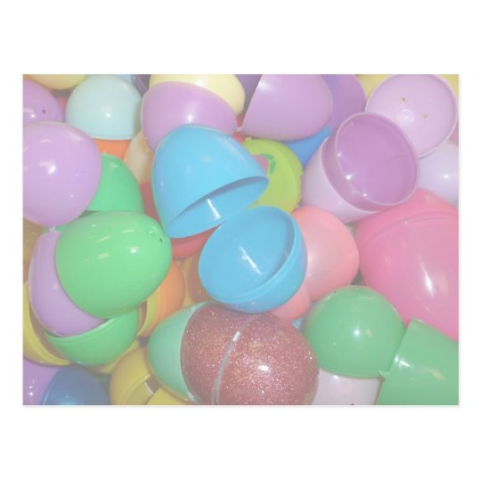plastic colourful easter eggs pastel background postcard