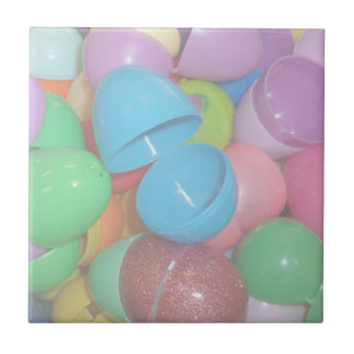 plastic colourful easter eggs pastel background tile