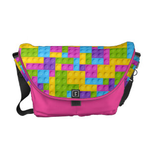 dbbd0fed86 Plastic Construction Blocks Pattern Messenger Bag