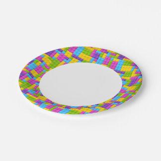 Plastic Construction Blocks Pattern Paper Plate