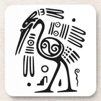 Plastic & Cork Coaster Set With Mayan Bird Design