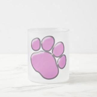 Plastic Dog Paw, Paw-print - Pink Black Frosted Glass Coffee Mug