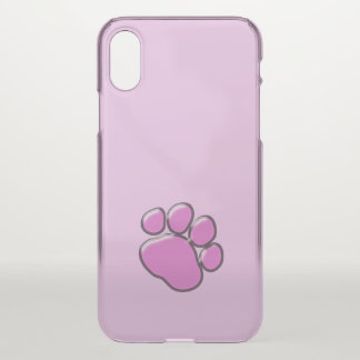 Plastic Dog Paw, Paw-print - Pink Black iPhone X Case