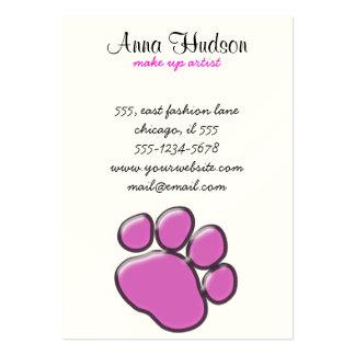 Plastic Dog Paw, Paw-print - Pink Black Large Business Card