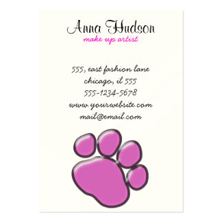 Plastic Dog Paws, Traces, Paw-prints - Pink Black Large Business Cards (Pack Of 100)