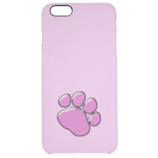 Plastic Dog Paws, Traces, Paw-prints - Pink Black Uncommon Clearly™ Deflector iPhone 6 Plus Case