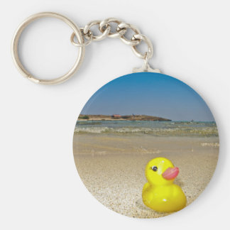 Plastic Duck at the Beach Keychain