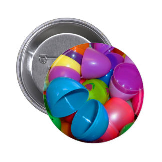 Plastic Easter Eggs Blue One Open Photograph 2 Inch Round Button