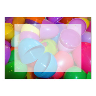 Plastic Easter Eggs Blue One Open Photograph 5x7 Paper Invitation Card
