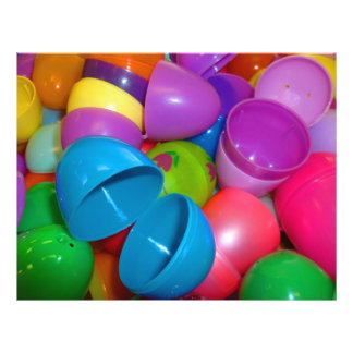 """Plastic Easter Eggs Blue One Open Photograph 8.5"""" X 11"""" Flyer"""