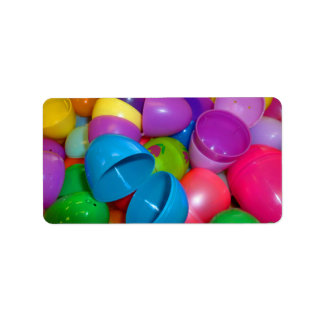 Plastic Easter Eggs Blue One Open Photograph Address Label