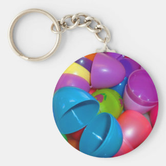 Plastic Easter Eggs Blue One Open Photograph Basic Round Button Keychain