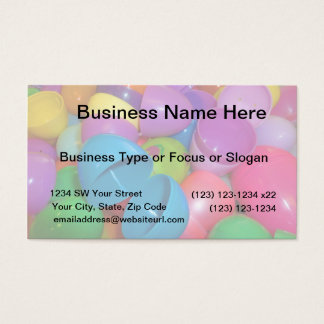 Plastic Easter Eggs Blue One Open Photograph Business Card