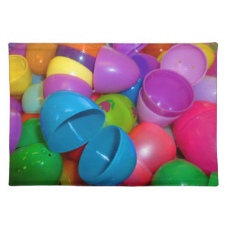 Plastic Easter Eggs Blue One Open Photograph Cloth Placemat