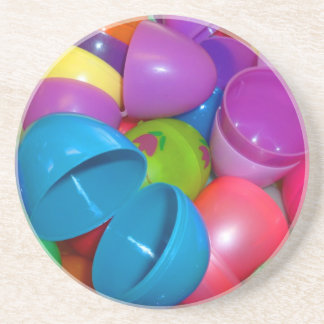 Plastic Easter Eggs Blue One Open Photograph Drink Coaster