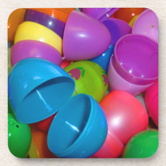 Plastic Easter Eggs Blue One Open Photograph Beverage Coaster