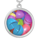Plastic Easter Eggs Blue One Open Photograph Personalized Necklace