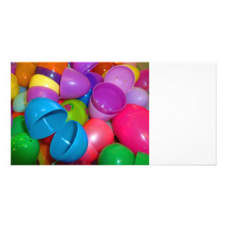 Plastic Easter Eggs Blue One Open Photograph Photo Card