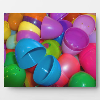 Plastic Easter Eggs Blue One Open Photograph Plaque