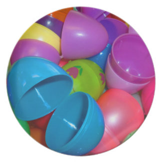 Plastic Easter Eggs Blue One Open Photograph Plate