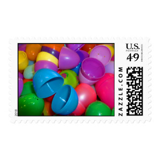 Plastic Easter Eggs Blue One Open Photograph Postage Stamp