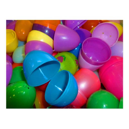 Plastic Easter Eggs Blue One Open Photograph Postcards