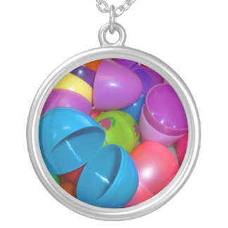 Plastic Easter Eggs Blue One Open Photograph Round Pendant Necklace