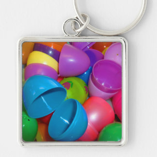 Plastic Easter Eggs Blue One Open Photograph Silver-Colored Square Keychain