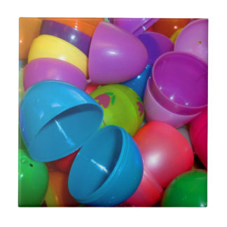 Plastic Easter Eggs Blue One Open Photograph Small Square Tile